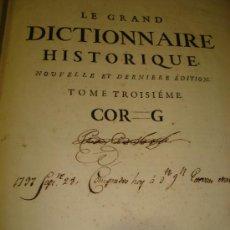 Diccionarios antiguos: LE GRAND DICTIONAIRE HISTORIQUE, L´HISTOIRE SACRÉE AT PROFANE, LOUIS MORERI, TOME III, PARIS 1732. Lote 35511064