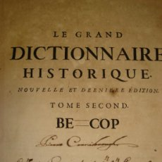 Diccionarios antiguos: LE GRAND DICTIONAIRE HISTORIQUE, L´HISTOIRE SACRÉE AT PROFANE, LOUIS MORERI, TOME II, PARIS 1732. Lote 35684467