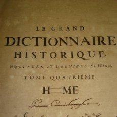 Diccionarios antiguos: LE GRAND DICTIONAIRE HISTORIQUE, L´HISTOIRE SACRÉE AT PROFANE, LOUIS MORERI, TOME IV, PARIS 1732. Lote 35684506