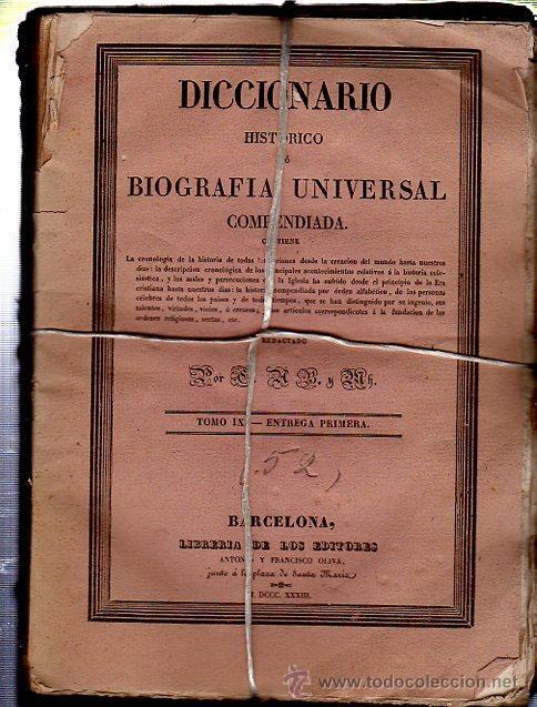 Diccionarios antiguos: DICCIONARIO HISTÓRICO O BIOGRAFÍA UNIVERSAL,11 TMS, BARCELONA LIBRERÍA DE NARCISO OLIVA 1830-34 - Foto 4 - 36105416