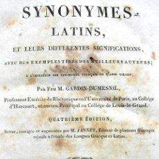 Diccionarios antiguos: SYNOMYNES LATINS, ET LEURS DIFFÉRENTES SIGNIFICATIONS. DUMESNIL. PARIS 1827. Lote 38032201