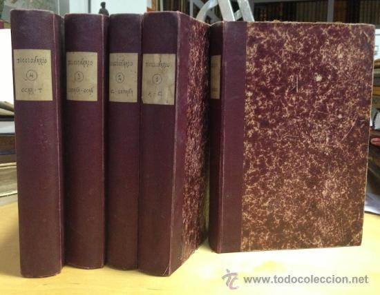 1890.- NOVISIMO DICCIONARIO POPULAR ILUSTRADO DE LA LENGUA CASTELLANA. 5 TOMOS. COMPLETO. (Libros Antiguos, Raros y Curiosos - Diccionarios)