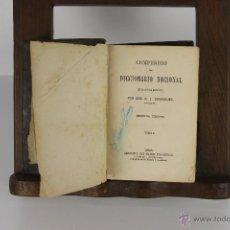 Diccionarios antiguos: D-054. COMPENDIO DEL DICCIONARIO NACIONAL. R.J. DOMINGUEZ. IMP. DEL BANCO INDUSTRIAL. 1865. 2 TOMOS. Lote 41727682