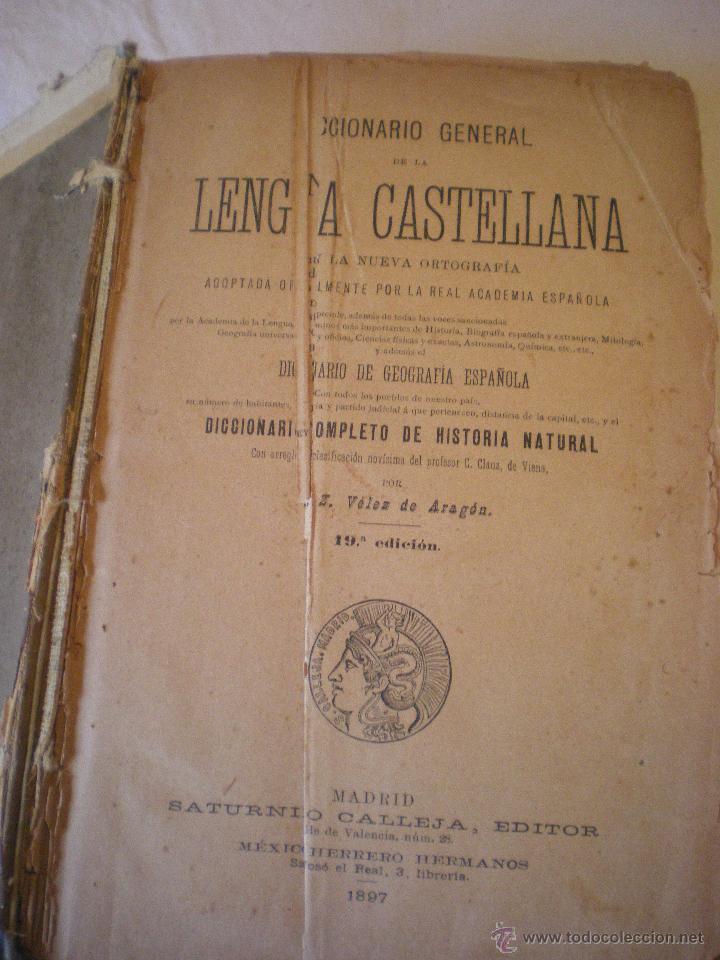 Diccionarios antiguos: DICCIONARIO DE LA LENGUA CASTELLANA DE Z. VELEZ DE ARAGON - Foto 4 - 42415100