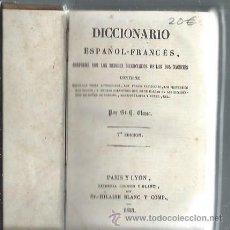Diccionarios antiguos: DICCIONARIO ESPAÑOL FRANCÉS, BLANC, PARIS Y LYON 1853, TM II, 790 PÁGS, 10X15CM. Lote 43337293