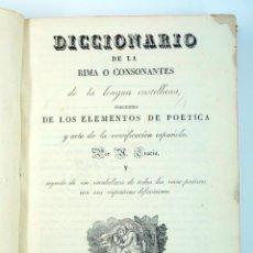Diccionarios antiguos: DICCIONARIO DE LA RIMA O CONSONANTES DE LA LENGUA CASTELLANA, BARCELONA 1829. 15X21 CM.. Lote 43449401