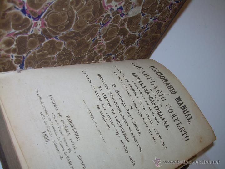 Diccionarios antiguos: DICCIONARIO.....CATALAN - CASTELLANO.....TAPAS PIEL ....AÑO..1.859 - Foto 6 - 46458554