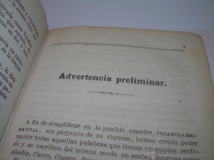 Diccionarios antiguos: DICCIONARIO.....CATALAN - CASTELLANO.....TAPAS PIEL ....AÑO..1.859 - Foto 7 - 46458554