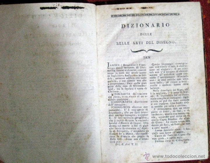 Diccionarios antiguos: Milizia. Dizionario delle belle arti del disegno. Tomo II. 1797 - Foto 4 - 47272389