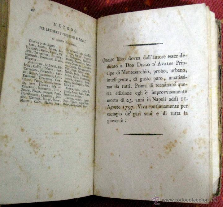Diccionarios antiguos: Milizia. Dizionario delle belle arti del disegno. Tomo II. 1797 - Foto 5 - 47272389