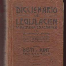 Diccionarios antiguos: DICCIONARIO DE LEGISLACION DE PRIMERA ENSEÑANZA-VICTORIANO ASCARZA-2º TOMO-1914-MADRID-LD39. Lote 48731211