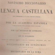 Diccionarios antiguos: NOVÍSIMO DICCIONARIO DE LA LENGUA CASTELLANA DE SINÓNIMOS Y DE LA RIMA AÑO 1889 TOTAL 1442 PAG LD60. Lote 48914010