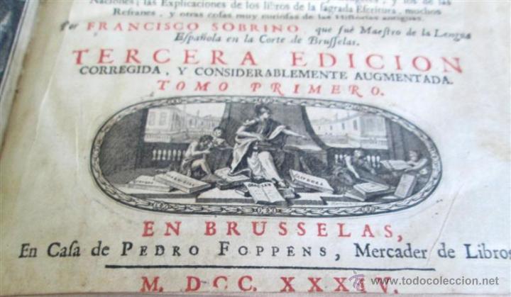 Diccionarios antiguos: 2 tomos - Diccionario nuevo de las lenguas españolas y francesas - Por Francisco Sobrino 1734 - Foto 6 - 52124821