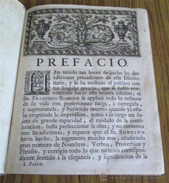 Diccionarios antiguos: 2 tomos - Diccionario nuevo de las lenguas españolas y francesas - Por Francisco Sobrino 1734 - Foto 7 - 52124821
