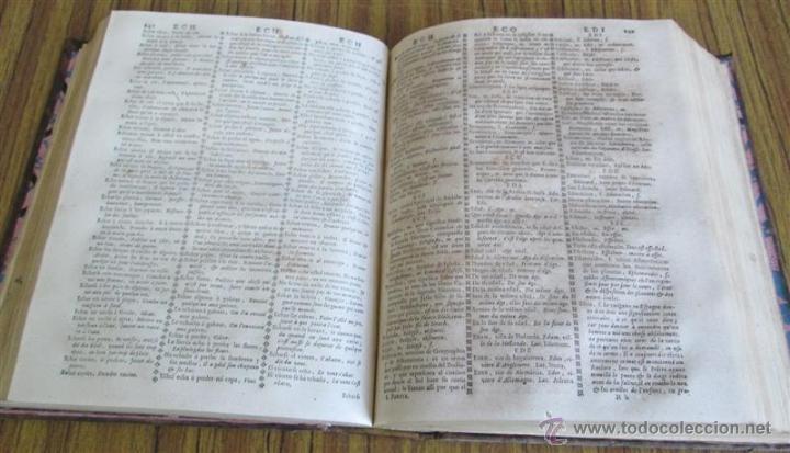 Diccionarios antiguos: 2 tomos - Diccionario nuevo de las lenguas españolas y francesas - Por Francisco Sobrino 1734 - Foto 8 - 52124821