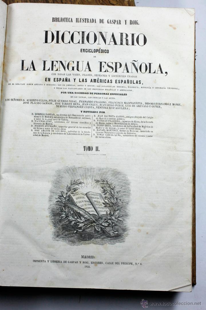 Diccionarios antiguos: DICCIONARIO DE LA LENGUA ESPAÑOLA, GASPAR ROIG, 2 TOMOS. Madrid 1855. 24x33ccm. - Foto 2 - 54047719