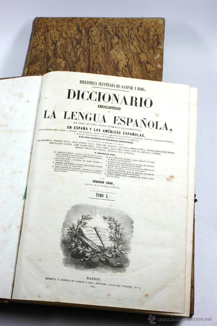 Diccionarios antiguos: DICCIONARIO DE LA LENGUA ESPAÑOLA, GASPAR ROIG, 2 TOMOS. Madrid 1855. 24x33ccm. - Foto 4 - 54047719
