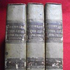 Diccionarios antiguos: 3 TOMOS DICCIONARIO CASTELLANO - CATALAN - LATINO - FRANCES - ITALIANO 1842 POR MARTI, BORDAS . Lote 54718760