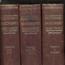 Diccionarios antiguos: DICCIONARIO ENCICLOPEDICO 3TOMOS I II III 2ªEDICION ILUSTRADOS AÑO1933 EDICION ESPASA MADRID LE856. Lote 54921059