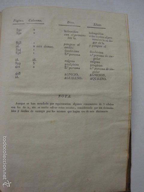 Diccionarios antiguos: DICCIONARIO DE LA RIMA LENGUA CASTELLANA- A. GRACIA- IMP. BRUSI- BARCELONA 1829-VER FOTOS - (XL-41) - Foto 12 - 57733164