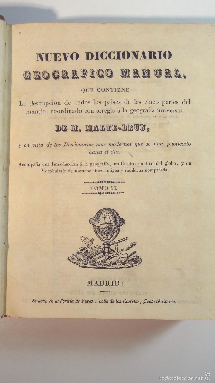 Diccionarios antiguos: NUEVO DICCIONARIO GEOGRAFICO MANUAL-TOMO II-MALTE BRUN-1832 - Foto 2 - 58755235