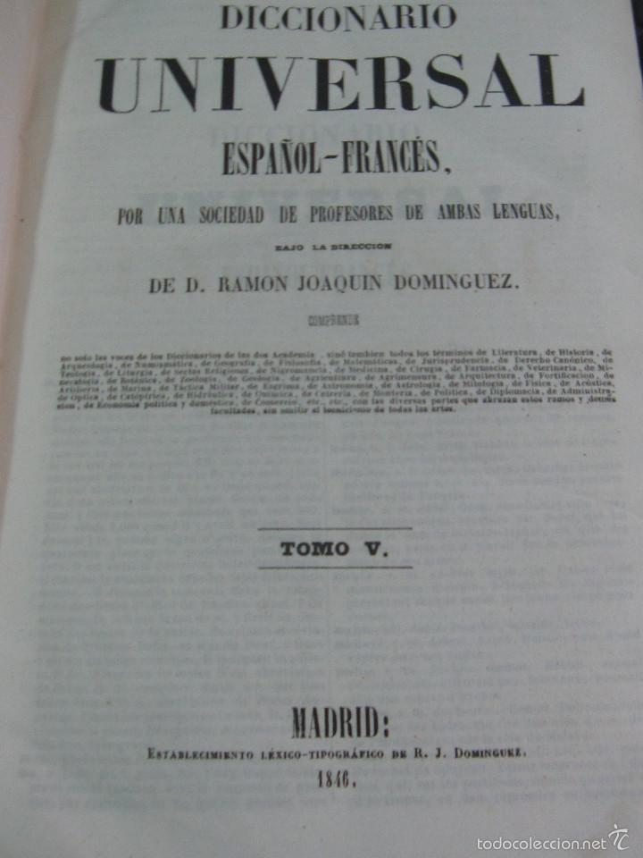 Diccionarios antiguos: DICCIONARIO UNIVERSAL ESPAÑOL-FRANCÉS Y FRANCÉS- ESPAÑOL TOMO 5 AÑO 1846 SIGLO XIX - Foto 3 - 59003555