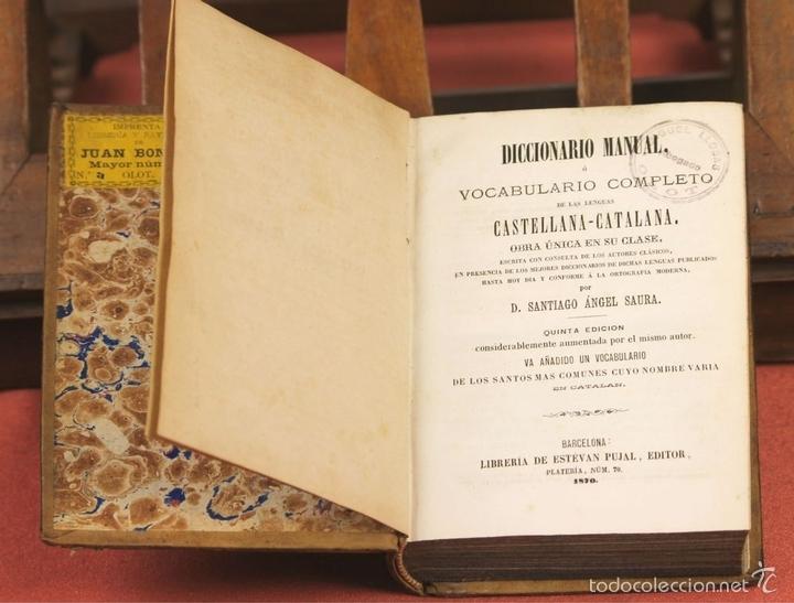 Diccionarios antiguos: LP-292 - EDITOR ESTÉVAN PUJAL. 2 VOLÚMENES(VER DESCRIPCIÓN). 1870/1878. - Foto 3 - 60760367
