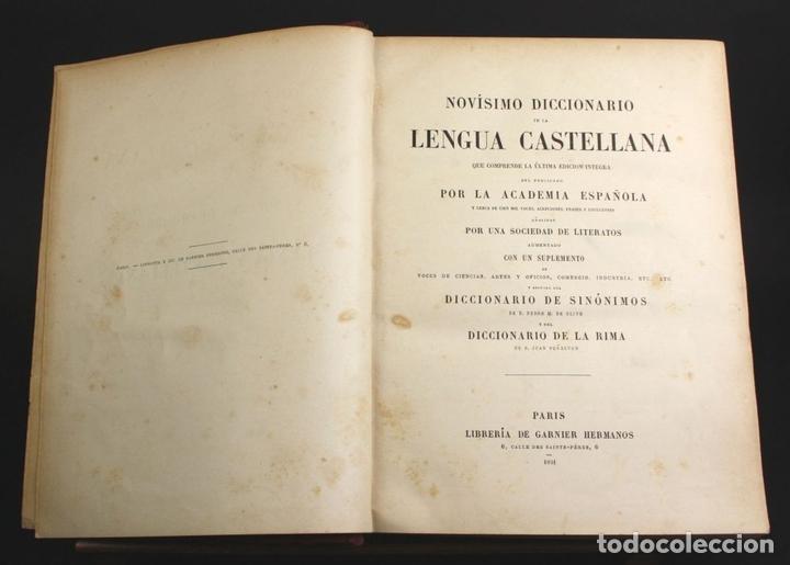 Diccionarios antiguos: 8110 - NOVISIMO DICCIONARIO DE LA LENGUA CASTELLANA. VV. AA. LIB. GANIER HERMANOS. 1891. - Foto 3 - 64025159