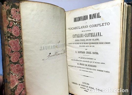 Diccionarios antiguos: Saura : Diccionario Manual, ó Vocabulario Completo de las lenguas Catalana-Castellana. (1870). - Foto 3 - 64034871