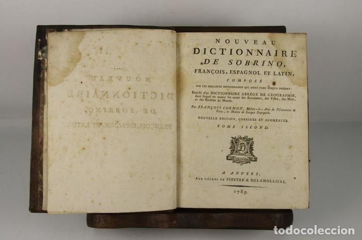 Diccionarios antiguos: 4888- SOBRINO AUMENTADO O NUEVO DICCIONARIO. FRANCISCO CORMON. EDIT. PIESTRE 1789. 3 VOL. - Foto 2 - 43907331