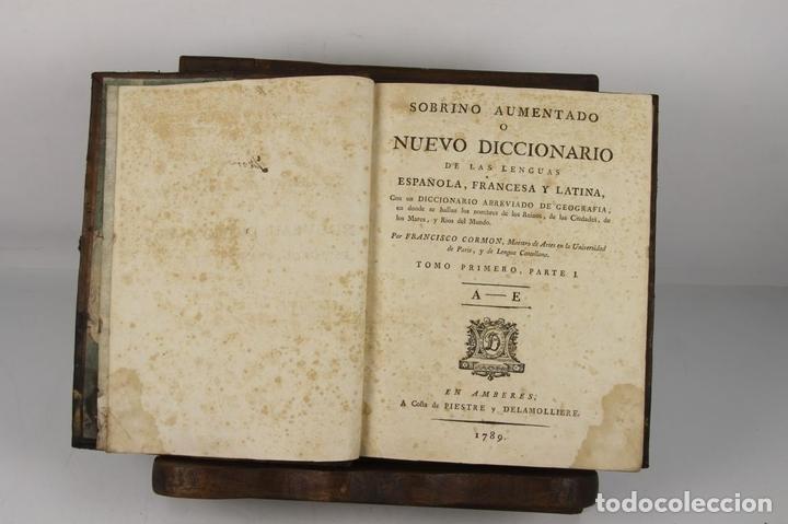 Diccionarios antiguos: 4888- SOBRINO AUMENTADO O NUEVO DICCIONARIO. FRANCISCO CORMON. EDIT. PIESTRE 1789. 3 VOL. - Foto 7 - 43907331