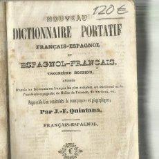 Diccionarios antiguos: DICTIONNAIRE PORTATIF. FRANCAIS-ESPAGNOL. PAR. J.F. QUINTANA. J. LANGLUMÉ LIBRAIRE. PARÍS. Lote 68548497