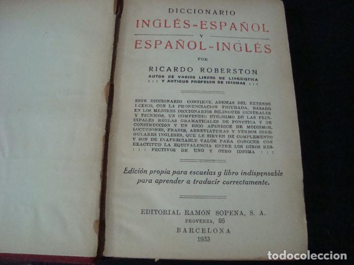 Diccionarios antiguos: DICCIONARIO INGLES - ESPAÑOL Y ESPAÑOL - INGLES. RICARDO ROBERSTON. - Foto 3 - 70135041