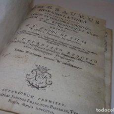 Diccionarios antiguos: LIBRO TAPAS DE PERGAMINO...THESAURUS HISPANO - LATINUS..AÑO 1.807...V.REQUEJO.. Lote 72817843