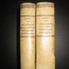 Diccionarios antiguos: A. SAURA. DICCIONARI DE LAS LLENGUAS CATALANA-CASTELLANA. CASTELLANA CATALANA. 2 VOL. PUJAL 1903.. Lote 72863755