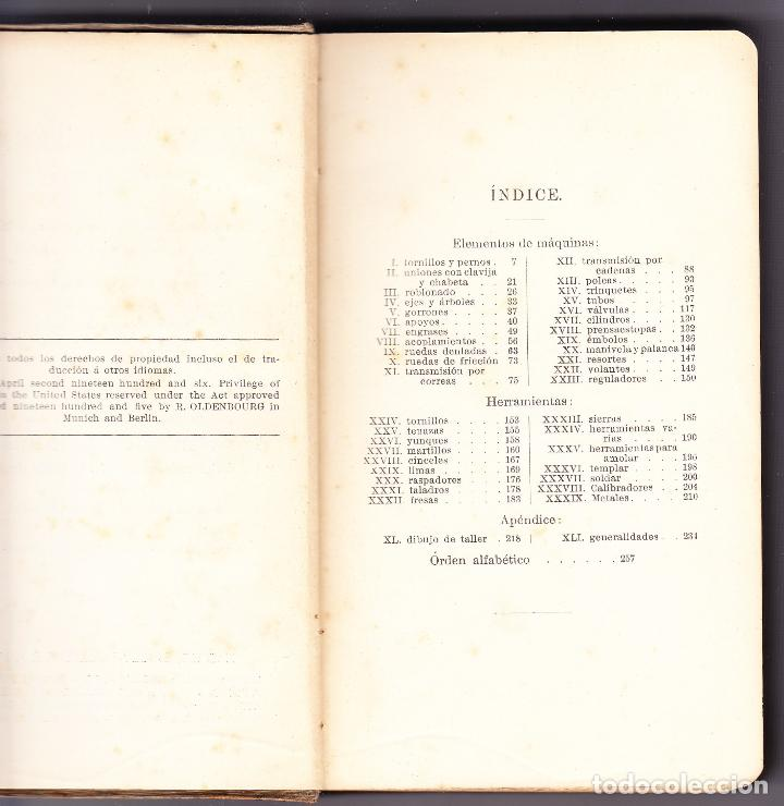 Diccionarios antiguos: TECNICO ILUSTRADO - ELEMENTOS MAQUINAS LABRAR MADERAS Y METALES TOMO I - 1906 - Foto 3 - 73622023