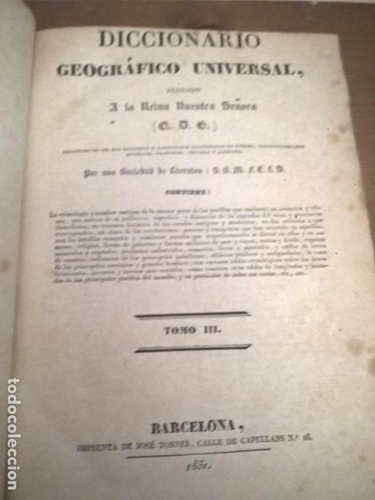 Diccionarios antiguos: DICCIONARIO GEOGRAFICO UNIVERSAL, TOMO III, BARCELONA, IMPRENTA DE JOSE TORNER 1831 - Foto 3 - 75075951