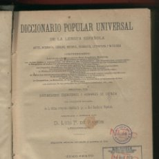 Diccionarios antiguos: DICCIONARIO POPULAR UNIVERSAL POR D.LUIS P.DE RAMÓN TOMO 6º 1151 PAGINAS AÑO 1899 LE1710. Lote 77978789