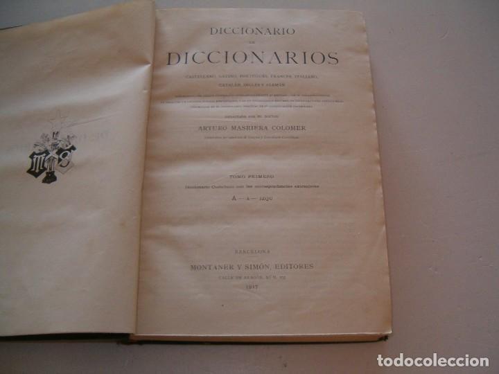 Diccionarios antiguos: ARTURO MASRIERA COLOMER. Diccionario de Diccionarios. CUATRO TOMOS. RM79280. - Foto 3 - 78408769