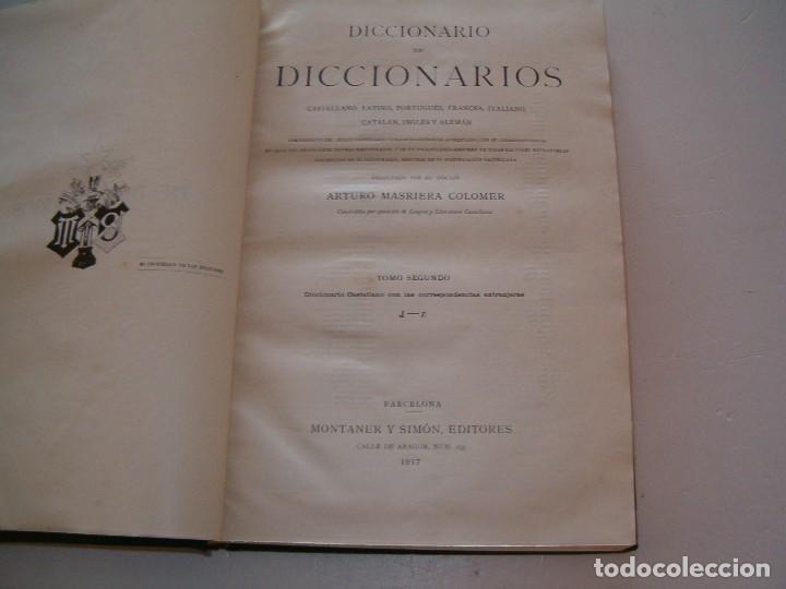 Diccionarios antiguos: ARTURO MASRIERA COLOMER. Diccionario de Diccionarios. CUATRO TOMOS. RM79280. - Foto 5 - 78408769