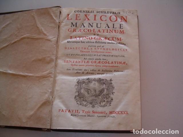 Diccionarios antiguos: CORNELII SCHREVELII. Lexicon Manuale Graeco-Latinum et Latino-Graecum. RM79336. - Foto 3 - 79210405