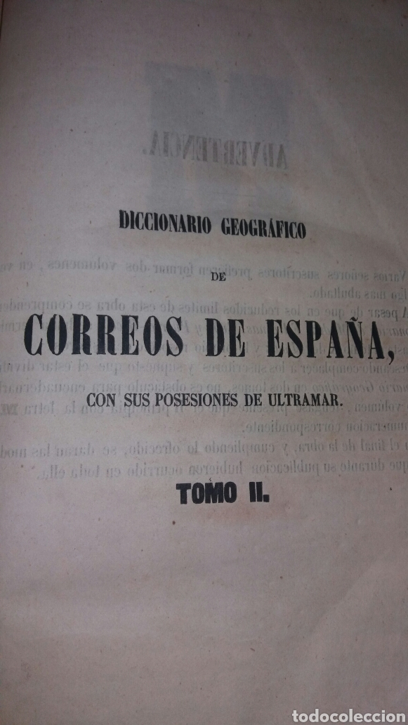 Diccionarios antiguos: DICCIONARIO GEOGRÁFICO POSTAL DE ESPAÑA CON SUS POSESIONES DE ULTRAMAR DOS TOMOS AÑO 1855 - Foto 6 - 81034655