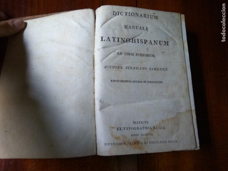 DICTIONARIUM MANUALE LATINO-HISPANUM AD USUM PUERORUM. STEPHANO XIMENEZ (1802) (Libros Antiguos, Raros y Curiosos - Diccionarios)