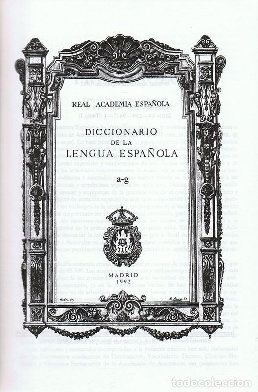 Diccionarios antiguos: DICCIONARIO DE LA LENGUA ESPAÑOLA TOMO 1 A/G - Foto 2 - 83558780