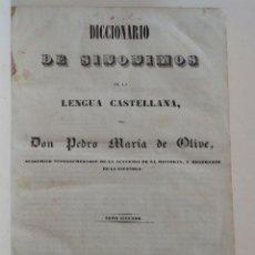 Diccionarios antiguos: 1842 * DICCIONARIO DE SINONIMOS DE LA LENGUA CASTELLANA * EN TAMAÑO FOLIO 32 CM * 326 PAGINAS. Lote 87655484