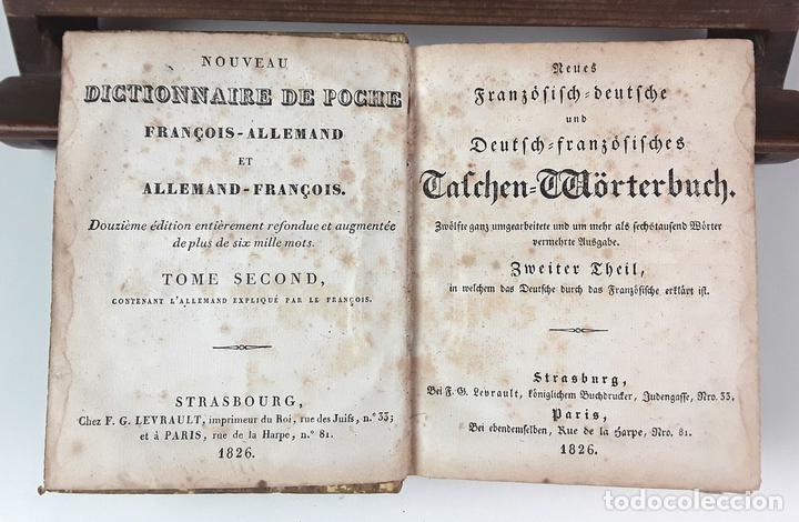 DICTIONNAIRE DE POCHE FRANÇOIS-ALLEMAND ET ALLEMAND-FRANÇOIS. TOMO II. IMP. LEVRAULT. 1826. (Libros Antiguos, Raros y Curiosos - Diccionarios)