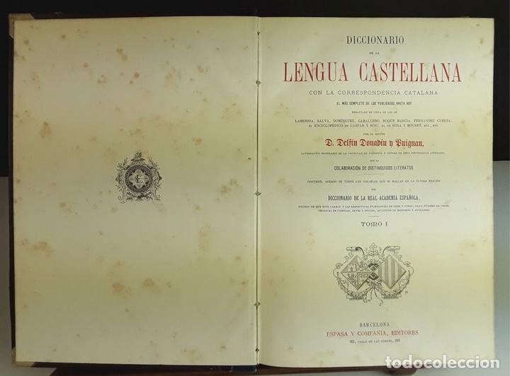 Diccionarios antiguos: DICCIONARIO DE LA LENGUA CASTELLANA. 4 TOMOS. EDITORES ESPASA Y COMPAÑÍA. S/F. - Foto 3 - 93736680
