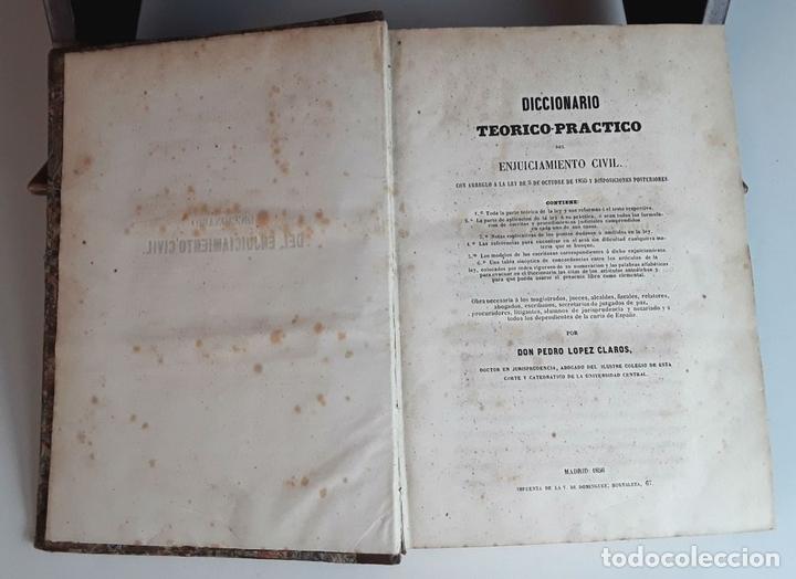 Diccionarios antiguos: DICCIONARIO TEÓRICO-PRÁCTICO DEL ENJUICIAMIENTO CIVIL. IMP. V. DE DOMINGUEZ. 1856. - Foto 3 - 95104439