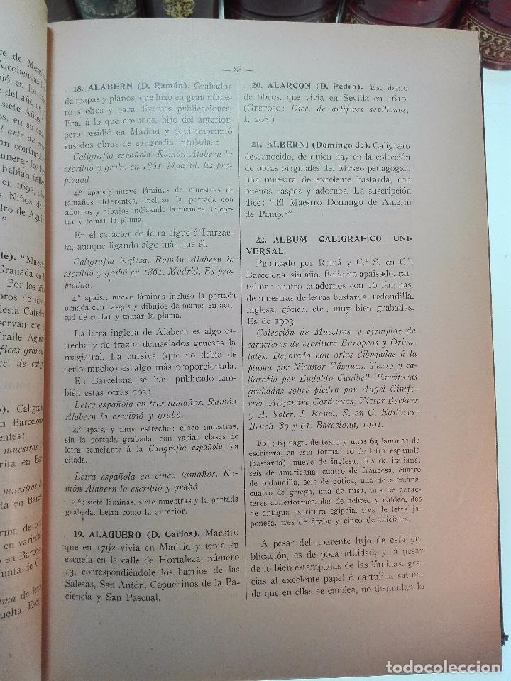 Diccionarios antiguos: MUY INTERESANTE DICCIONARIO BIOGRÁFICO Y BIBLIOGRÁFICO DE CALÍGRAFOS ESPAÑOLES - TOMOS I Y II-1913 - - Foto 5 - 100461723