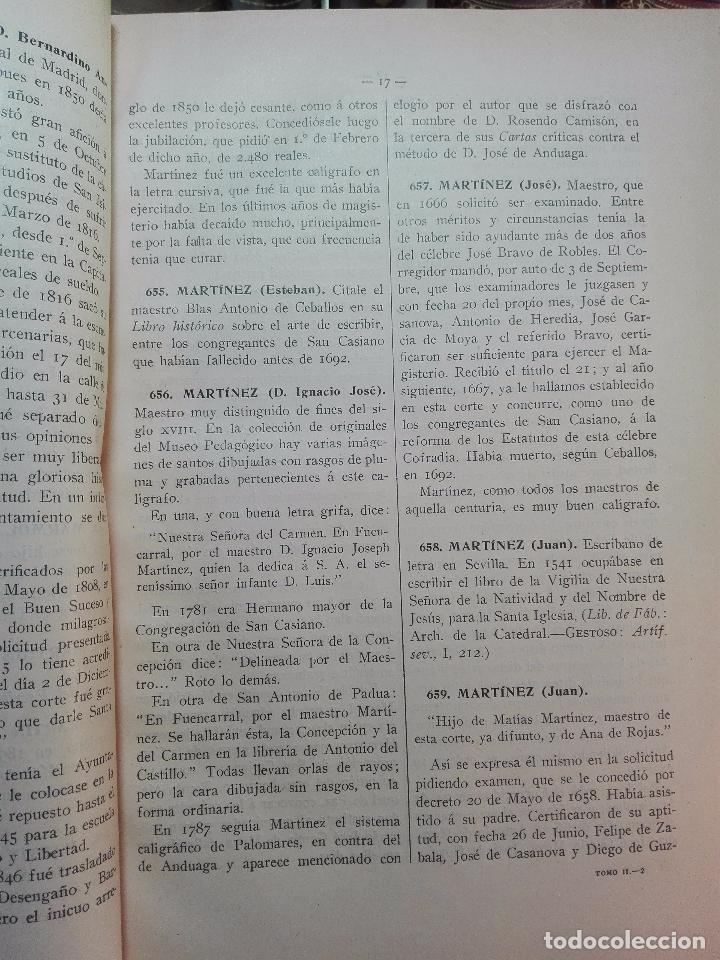 Diccionarios antiguos: MUY INTERESANTE DICCIONARIO BIOGRÁFICO Y BIBLIOGRÁFICO DE CALÍGRAFOS ESPAÑOLES - TOMOS I Y II-1913 - - Foto 14 - 100461723